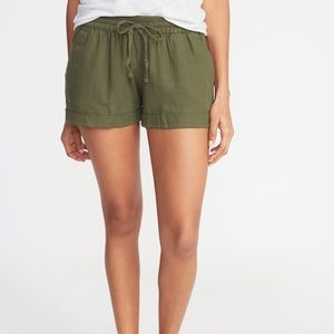 Old Navy: Army Green Linen Shorts